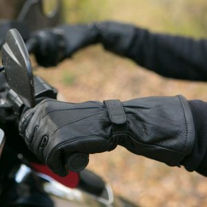 gauntlet glove on motorcycle
