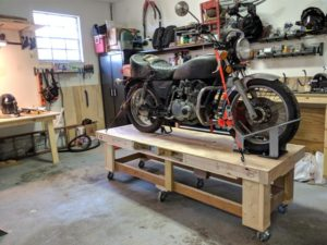 Upcycled moto work table