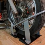 Wheel chock - Upcycled moto work table